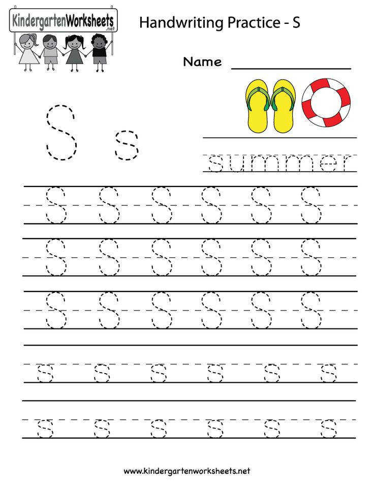 Kindergarten Letter S Writing Practice Worksheet Printable