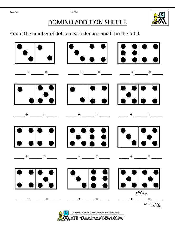 printable kindergarten math worksheets domino addition 3