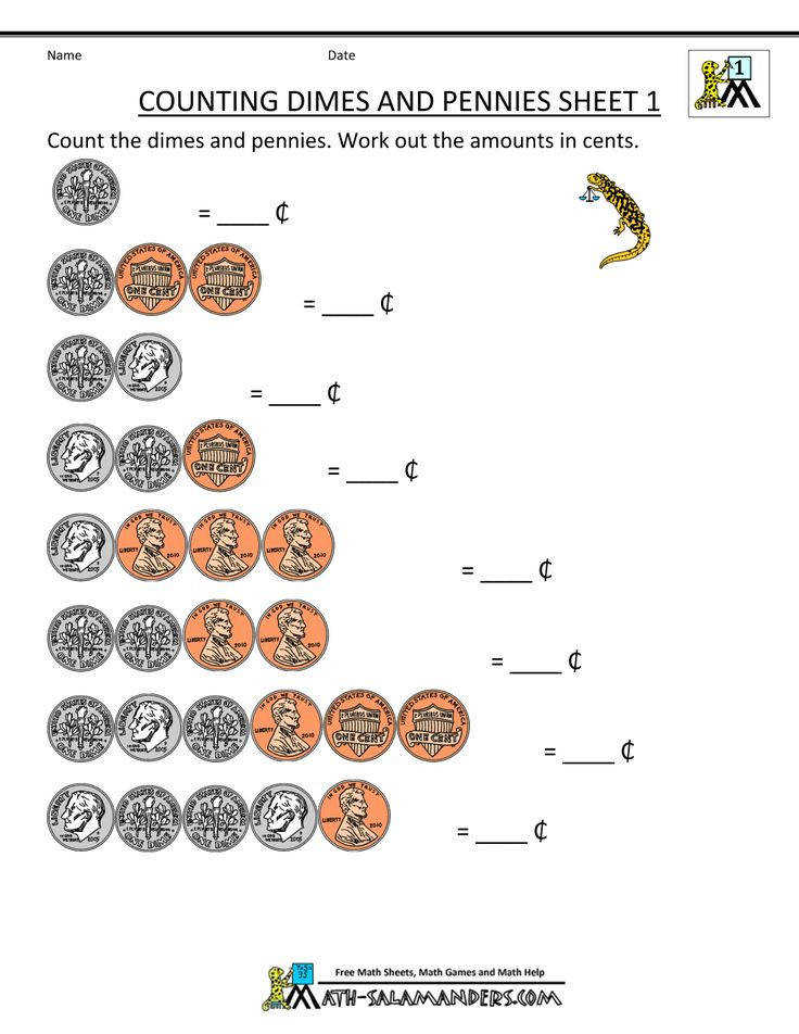 counting money worksheet dimes and pennies 1 1 000