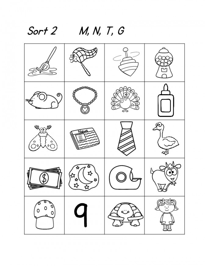 Worksheet Phonics For Kindergarten Wosenly Free Worksheets Kindergarten First Grade Picture Word Study Sorts And