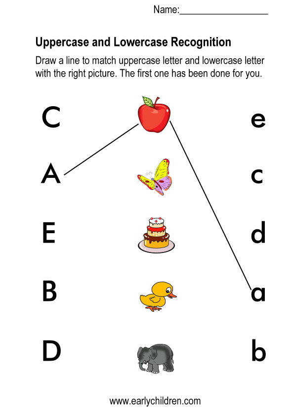 To print this worksheet click Matching upper and lower case letters worksheets for kindergarten
