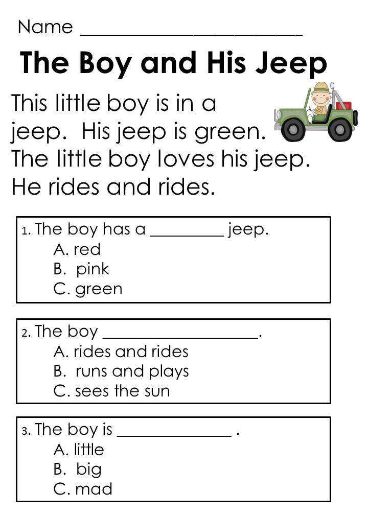Kindergarten Guided Reading prehension Passages and Questions Ideal for ESL