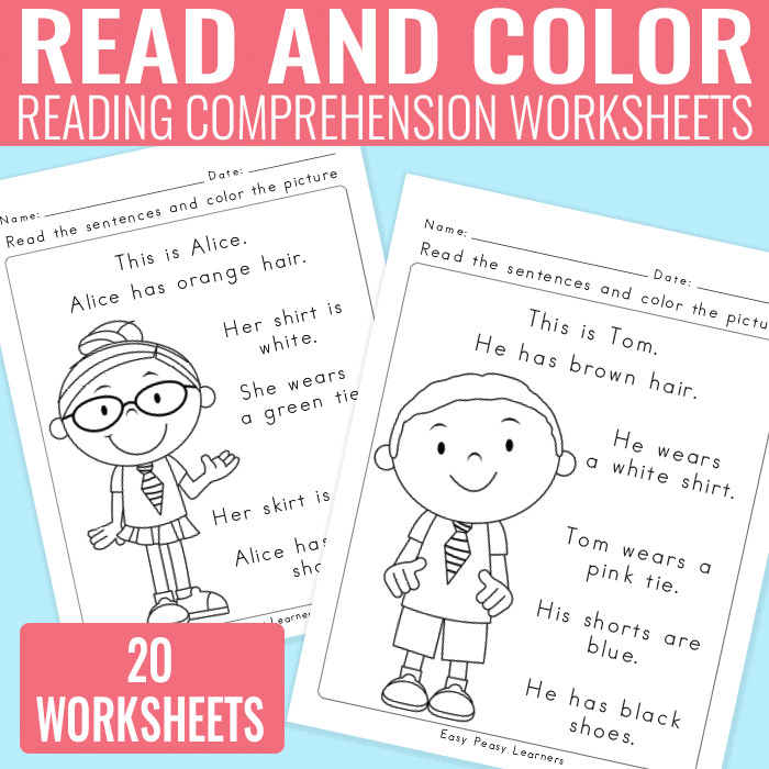 Read and Color Reading prehension Worksheets for Grade 1 and Kindergarten