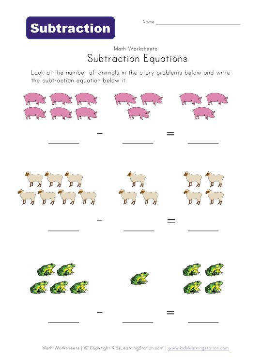 animals subtraction worksheets View and Print Your Subtraction Equations Worksheet Daily 5 beginner Pinterest