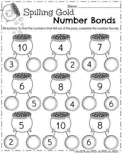 Kindergarten Math Worksheets for March Number Bonds