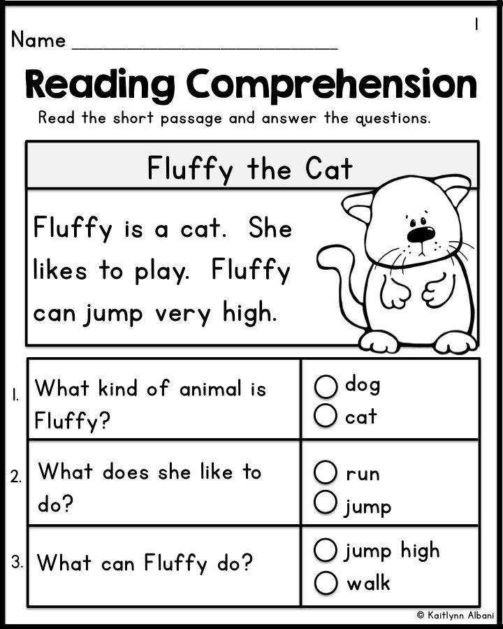 Kindergarten Reading prehension Passages Set 1 FREEBIE