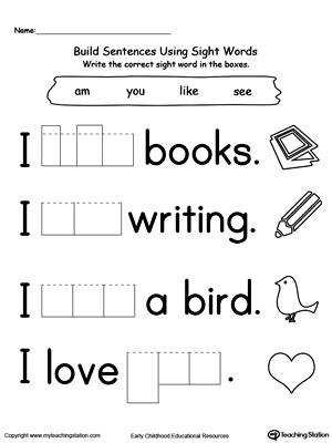 Free printable Kindergarten reading Worksheets word lists and