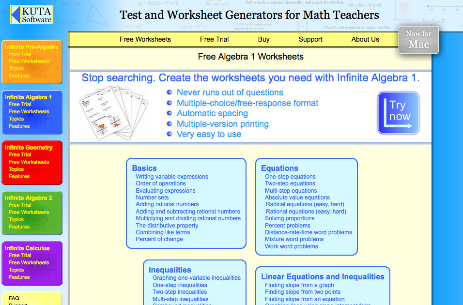 Kuto algebra I worksheets