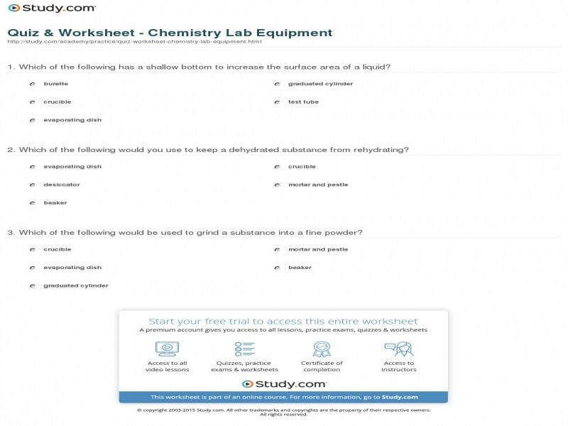 Quiz & Worksheet Chemistry Lab Equipment