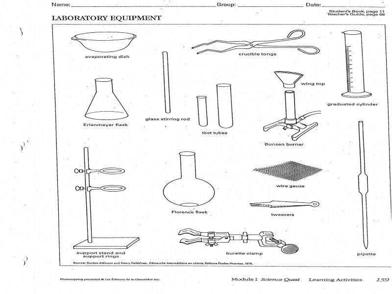 Lab Safety Assignment And Lab Equipment Handout