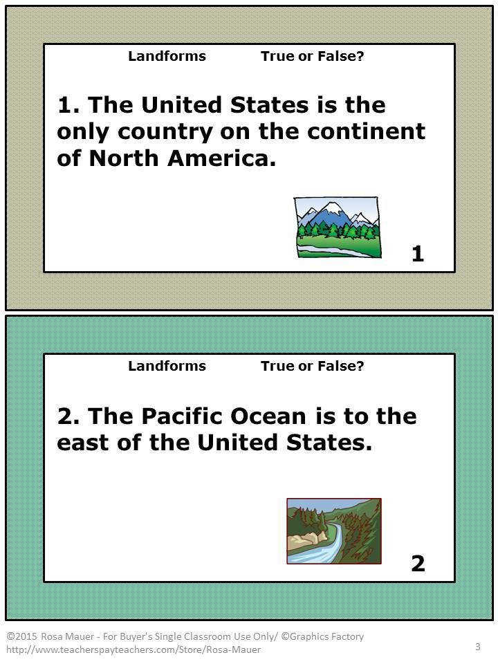 Landforms are the focus of these 36 true or false task cards There is a