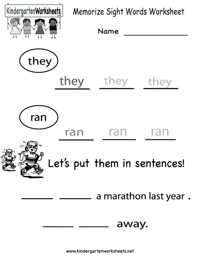 Kindergarten Memorize Sight Words Worksheet Printable Worksheets Free Language Arts For High School 1ad652de8926d b5b Free Kindergarten