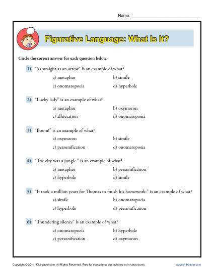 Figurative Language What is it Free Printable Worksheet Lesson Activity In this