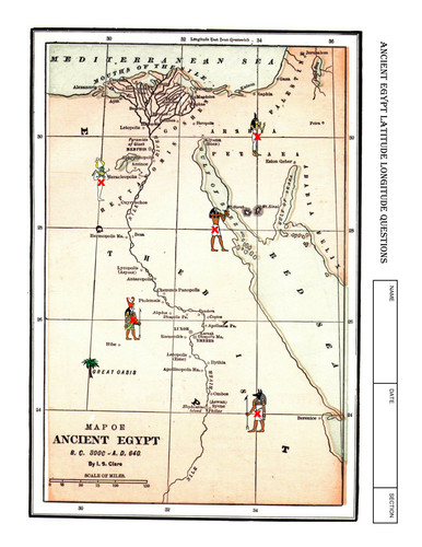 A two printable worksheet lesson on latitude and longitude using a map of Ancient Egypt