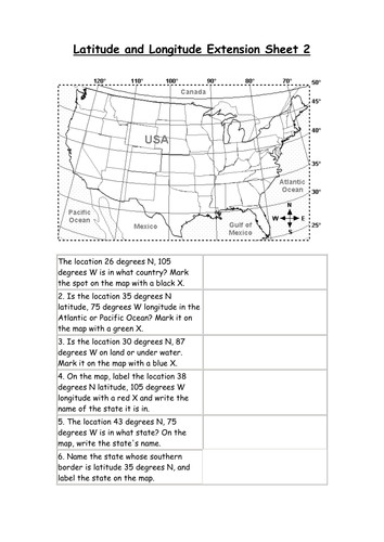 Latitude and Longitude Worksheets by DerKaiser Teaching Resources Tes