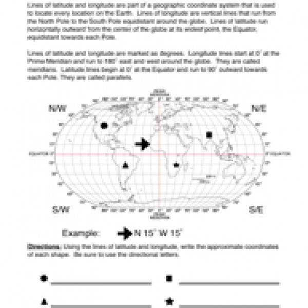 Latitude and Longitude Missouri Worksheet