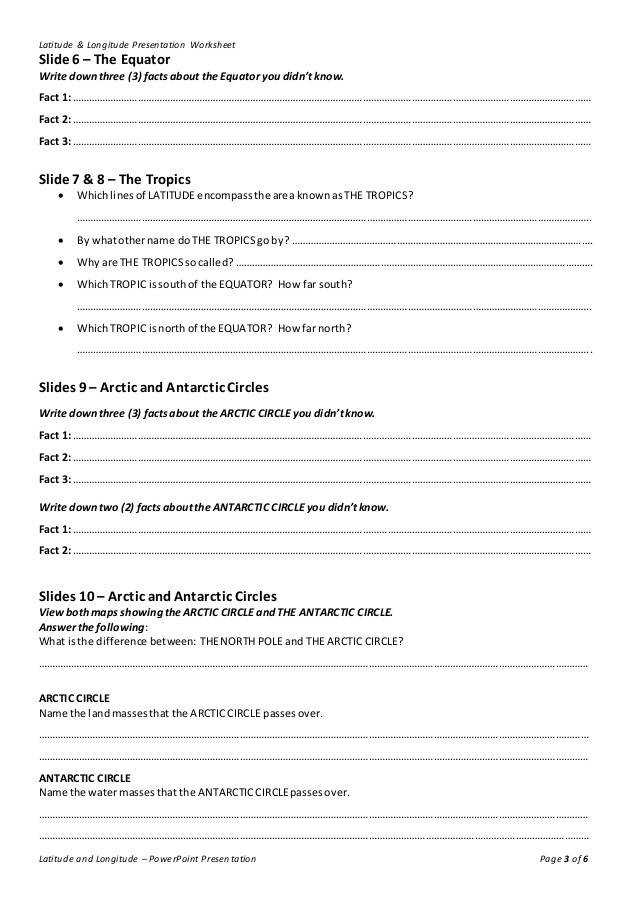 Latitude & Longitude Presentation Worksheet