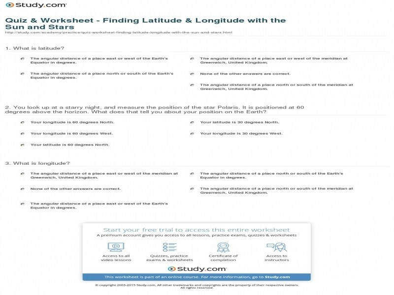 Quiz & Worksheet – Finding Latitude & Longitude With
