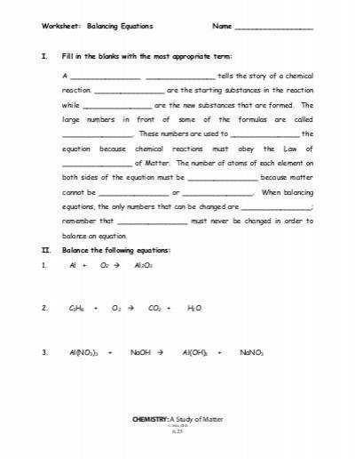 Printables chemistry a study of matter worksheet answers answers