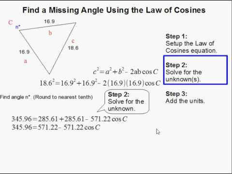 How to Find the Missing Angle Using Law of Cosines