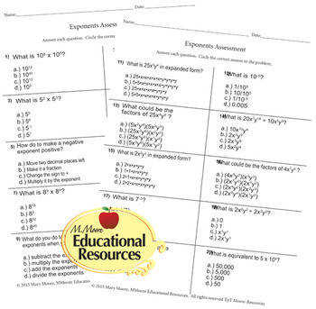 Laws of Exponents Quiz Test Assessment Worksheet 20 Questions
