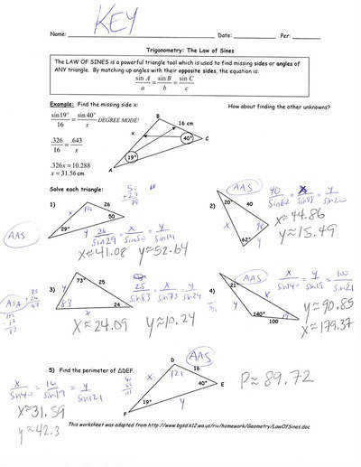 Posted below is the answer key for the Law of Sines worksheet