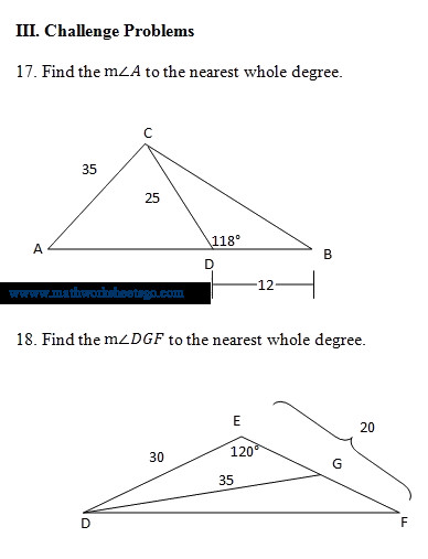 Law Of Sines and Cosines Worksheet