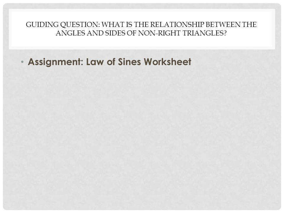 Assignment Law of Sines Worksheet