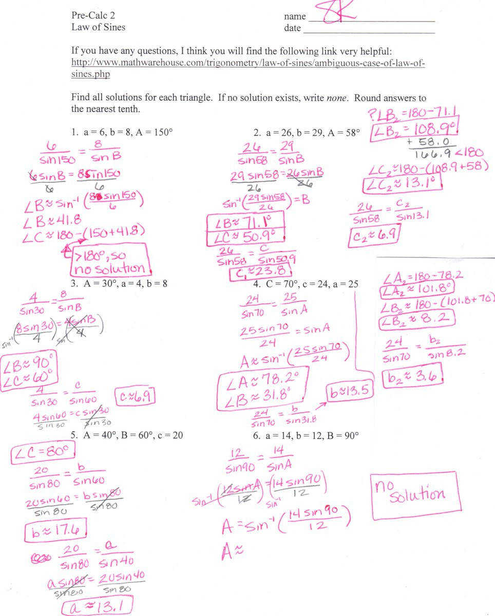 "Sandy Kouns on Twitter ""6 1 Law of Sines worksheet answers Here ya go fb"