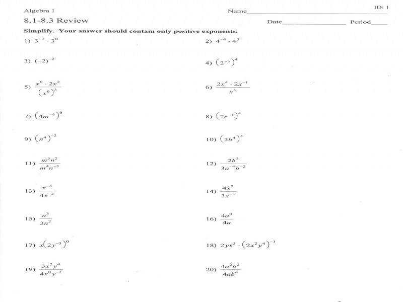 "9 photos of the ""Properties Exponents Worksheet Answers"""