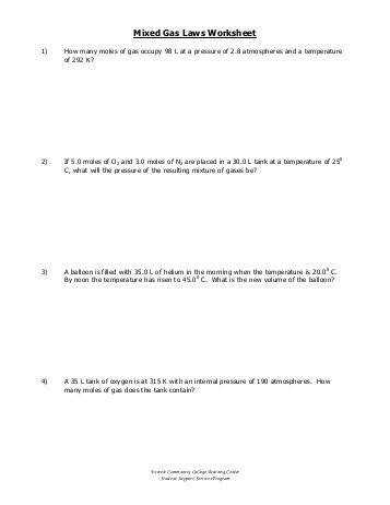 Mixed Gas Laws Worksheet Everett munity College