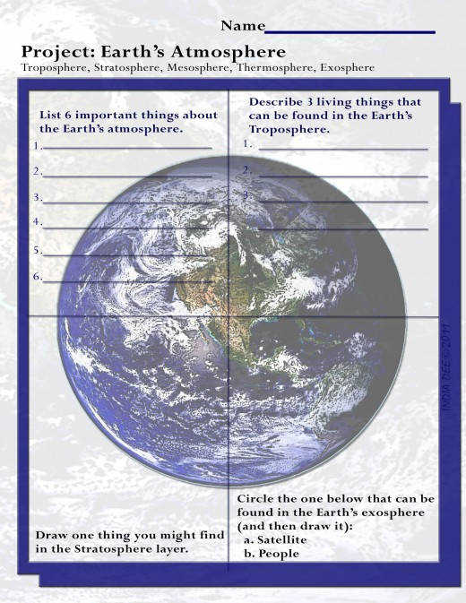 "This fun ""Earth s Atmosphere Project Worksheet"" can be pleted in the classroom or as"