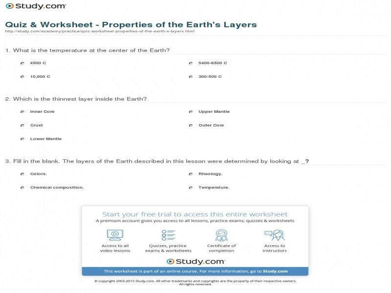 Quiz & Worksheet – Properties The Earth s Layers