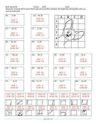 GCF and LCM Puzzle Activity Worksheet 18 problems from CGR educational Consulting on TeachersNotebook