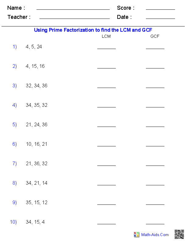 Lcm and Gcf Worksheet