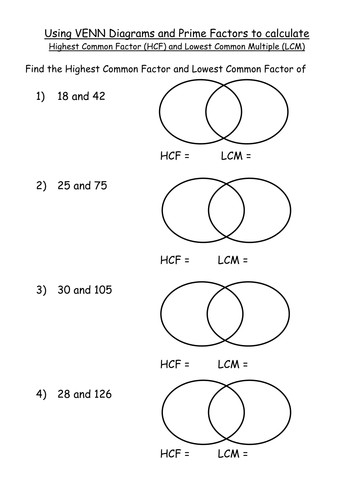 Maths KS4 Worksheet– HCF and LCM Venn Diagram PFD by mrbuckton4maths Teaching Resources Tes