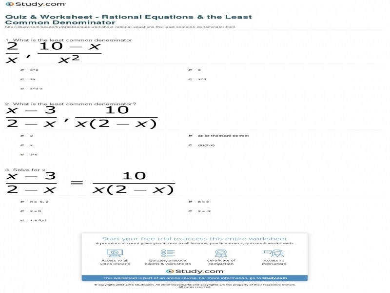 Quiz & Worksheet – Rational Equations & The