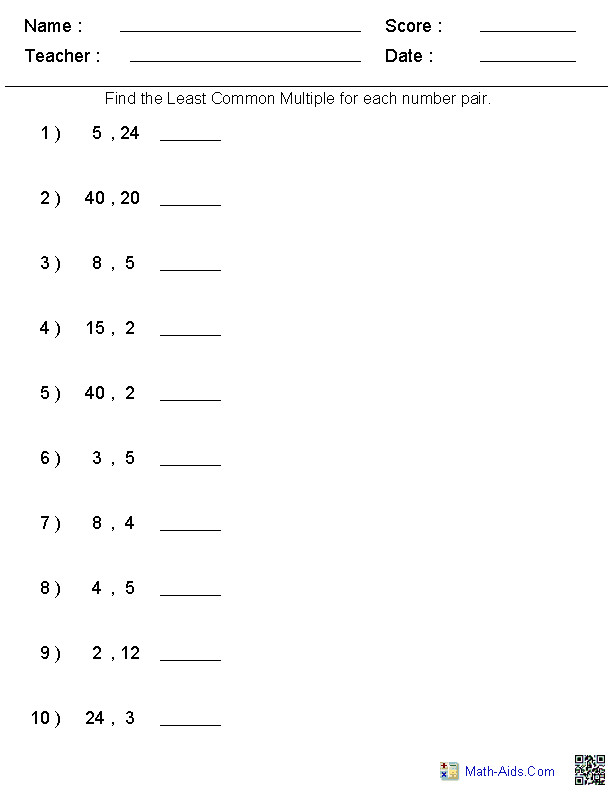 Least Common Denominator Worksheet