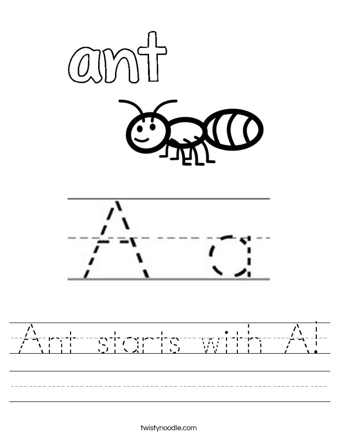 Ant starts with A Handwriting Sheet