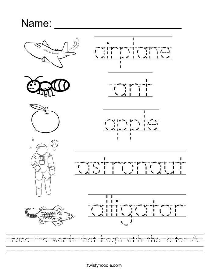 Trace the words that begin with the letter A Worksheet