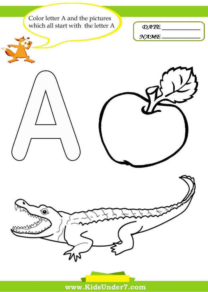 Kids Under Letter A Worksheets And Coloring Pages B Printable Color By Worksheets Medium Size