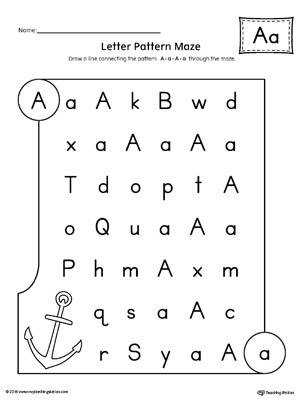 Letter A Pattern Maze Worksheet
