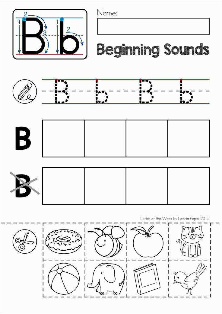 FREE Phonics Letter of the Week B Beginning sounds cut and paste