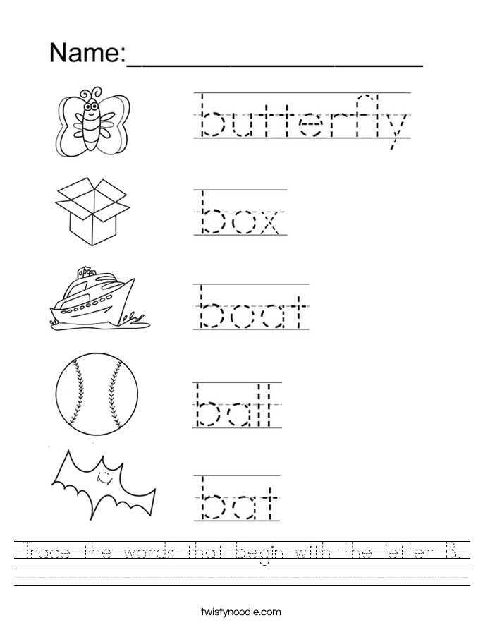 Trace the words that begin with the letter B Worksheet