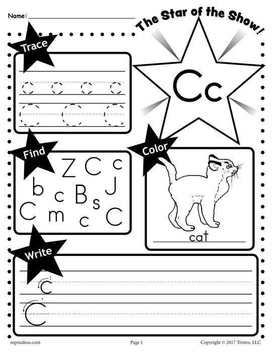 C Star of the show Letter worksheet