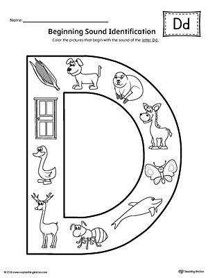 Letter D Beginning Sound Color Worksheet
