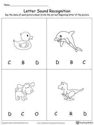 Recognize the Sound of the Letter D DownloadFREE Worksheet