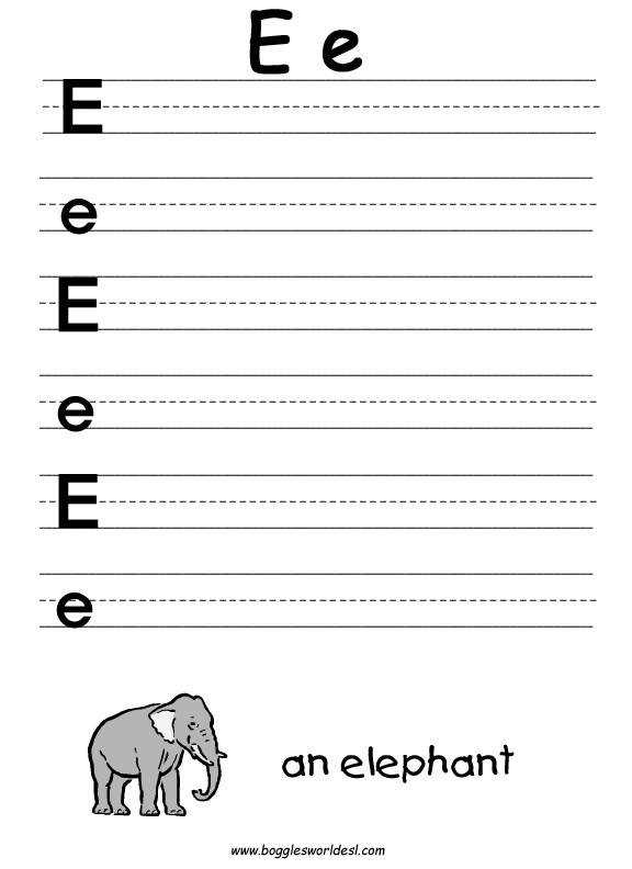Big and Little E Writing Worksheet