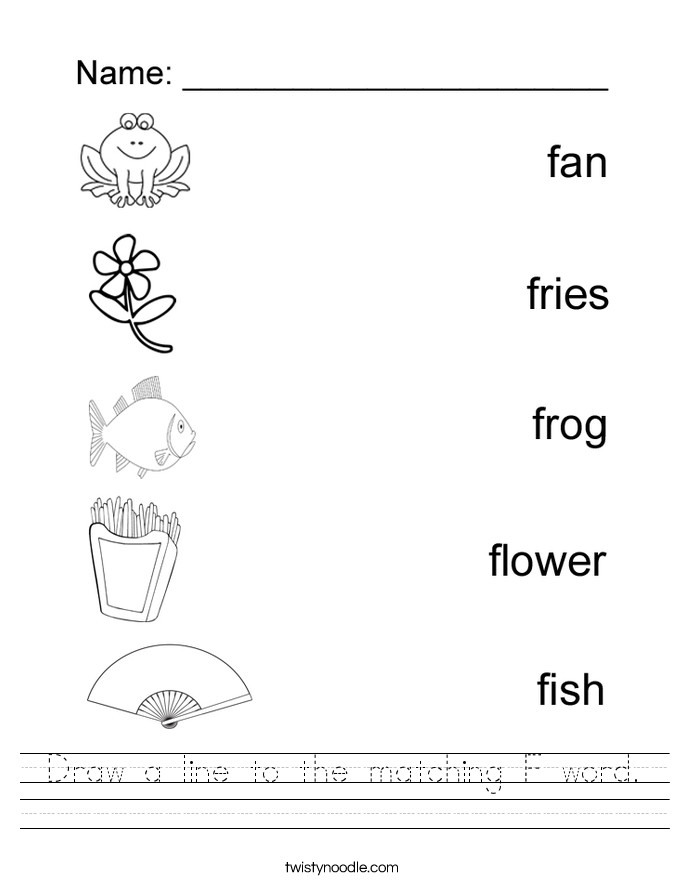 Draw a line to the matching F word Handwriting Sheet