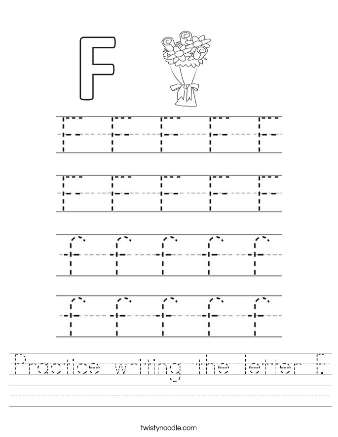 Practice writing the letter F Worksheet